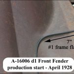 "A-16006 LH d1 Front Fender - 7"" frame flange (through April 1928)"