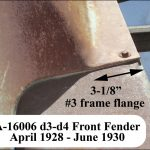 "A-16006 LH d3-d4 Front Fender - 3-1/8"" frame flange (starting July 1928)"