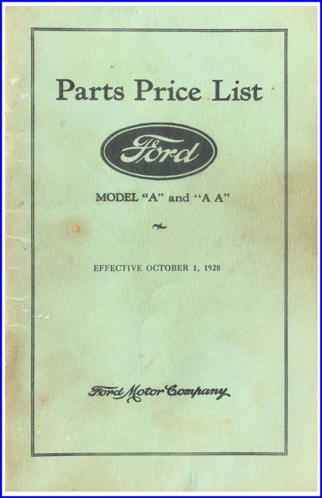Ford Parts Price List - Cover Example