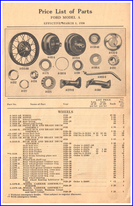 Ford Parts Price List - Model A Section Example